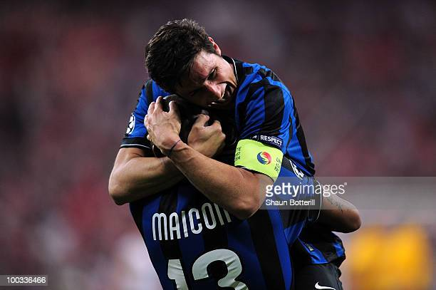 Maicon and Javier Zanetti of Inter Milan celebrate victory after the UEFA Champions League Final match between FC Bayern Muenchen and Inter Milan at...