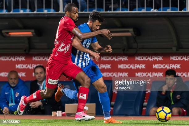 Maicon Marques Bitencourt of Antalyaspor AS Mahmoud Ahmed Ibrahim Hassan of Kasimpasa AS during the Turkish Spor Toto Super Lig match between...