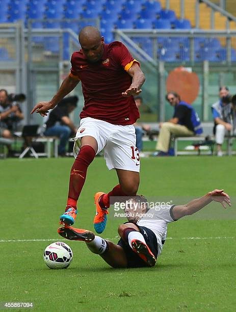 Maicon of AS Roma in action against Rossettini of Cagliari Calcio during the Serie A match between AS Roma and Cagliari Calcio at Stadio Olimpico on...