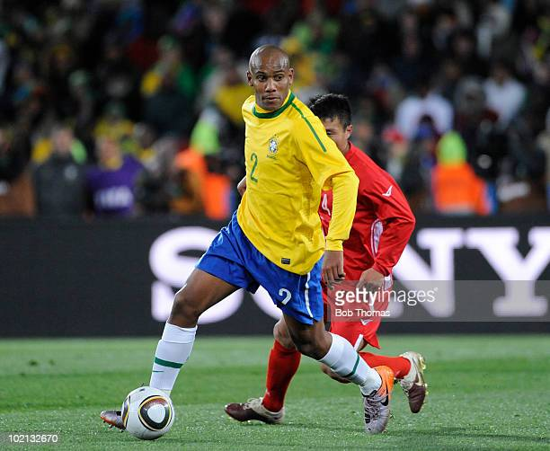 Maicon of Brazil controls the ball during the 2010 FIFA World Cup South Africa Group G match between Brazil and North Korea at Ellis Park Stadium on...