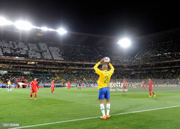 Maicon of Brazil looks to inbound the ball during the 2010 FIFA World Cup South Africa Group G match between Brazil and North Korea at Ellis Park...