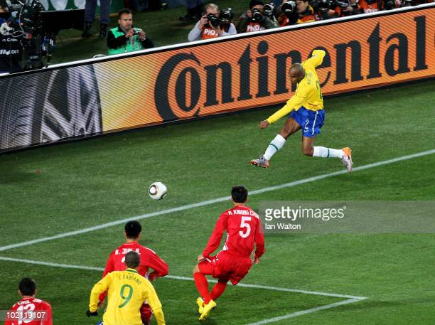 Maicon of Brazil scores the opening goal during the 2010 FIFA World Cup South Africa Group G match between Brazil and North Korea at Ellis Park...