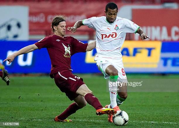 Maicon of FC Lokomotiv Moscow battles for the ball with Cristian Ansaldi of FC Rubin Kazan during the Russian Football League Championship match...