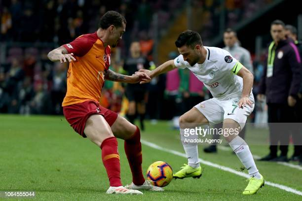 Maicon of Galatasaray in action against Omer Ali Sahiner of Atiker Konyaspor during the Turkish Super Lig soccer match between Galatasaray and Atiker...