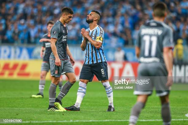 Maicon of Gremio battles for the ball against Rodrigo Brana of Estudiantes during the match between Gremio and Estudiantes part of Copa Conmebol...
