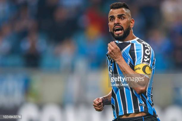 Maicon of Gremio celebrates after scores a penalty kick during the match between Gremio and Estudiantes part of Copa Conmebol Libertadores 2018 at...