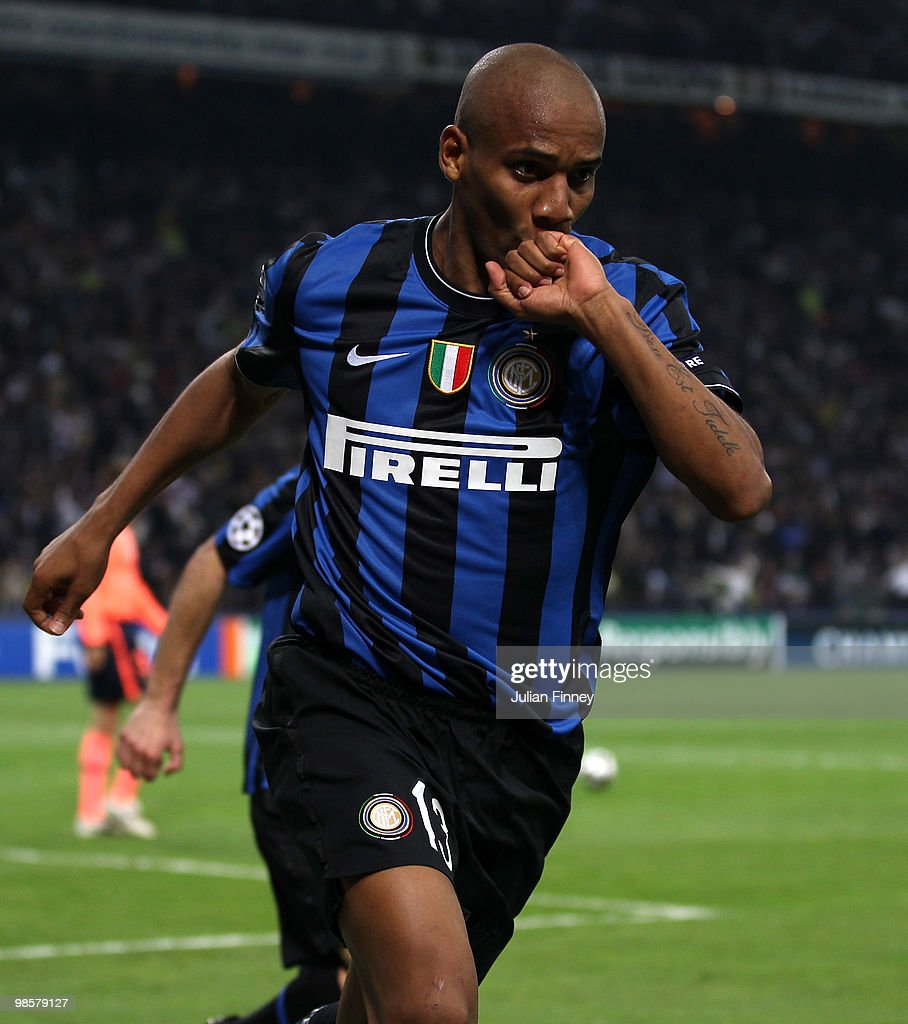Maicon of Inter celebrates scoring his teams second goal during the UEFA Champions League Semi Final 1st Leg match between Inter Milan and Barcelona at the San Siro on April 20, 2010 in Milan, Italy.