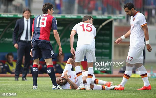 Maicon of Roma injured during the Serie A match between Cagliari Calcio and AS Roma at Stadio Sant'Elia on April 6 2014 in Cagliari Italy