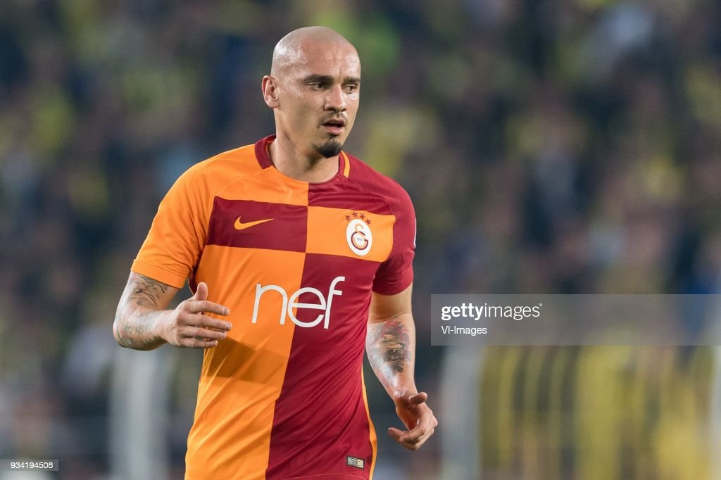 Maicon Pereira Roque of Galatasaray SK during the Turkish Spor Toto Super Lig match Fenerbahce AS and Galatasaray AS at the Sukru Saracoglu Stadium on March 17, 2018 in Istanbul, Turkey