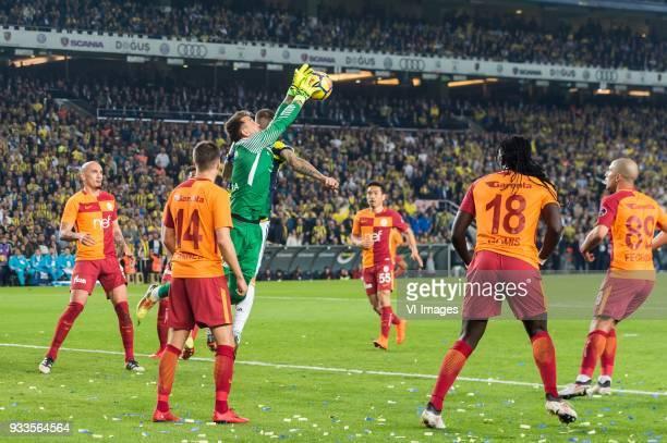 Maicon Pereira Roque of Galatasaray SK Martin Linnes of Galatasaray SK Martin Skrtel of Fenerbahce SK goalkeeper Fernando Muslera of Galatasaray SK...