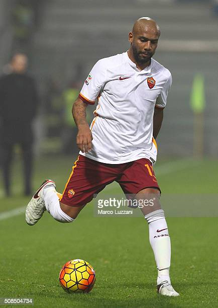 Maicon Sisenado Douglas of AS Roma in action during the Serie A match between US Sassuolo Calcio and AS Roma at Mapei Stadium Città del Tricolore on...