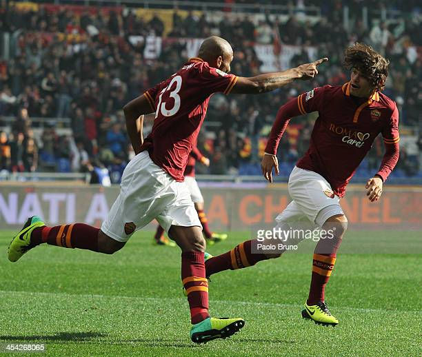 Maicon with his teammate Dodo' of AS Roma celebrates after scoring the opening goal during the Serie A match between AS Roma and ACF Fiorentina at...
