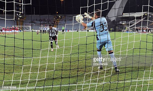 Maicosuel of Udinese misses a penalty during the UEFA Champions League playoff match between Udinese Calcio and SC Braga at Friuli Stadium on August...