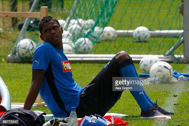 Maicosuel reacts after during a training session of 1899 Hoffenheim during a training camp on July 1, 2009 in Stahlhofen am Wiesensee, Germany.