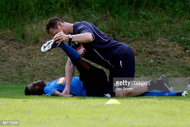 Maicosuel recieves treatment during a training session of 1899 Hoffenheim during a training camp on July 1 2009 in Stahlhofen am Wiesensee Germany