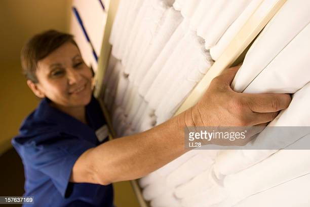 maid cart - commercial cleaning stock photos and pictures