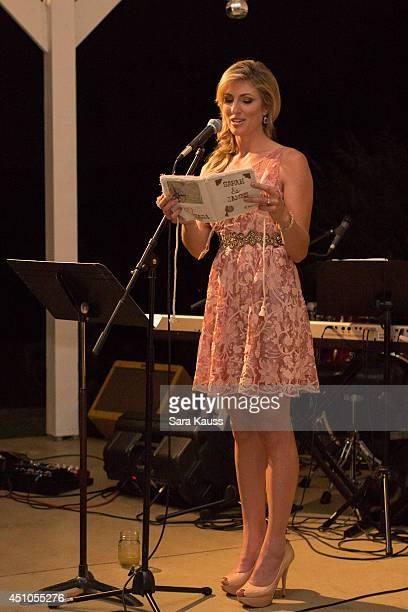 Maid of Honor Sara Kauss gives a toast at the Wedding reception of Sarah Darling and James Muriel wedding day celebration on May 30 2014 at Front...
