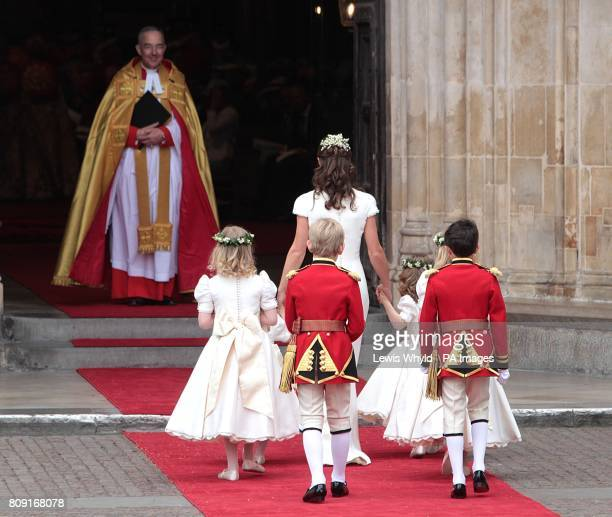 Maid of honour Pippa Middleton arrives with page boys and ring bearers at Westminster Abbey ahead of her Royal Wedding to Prince William