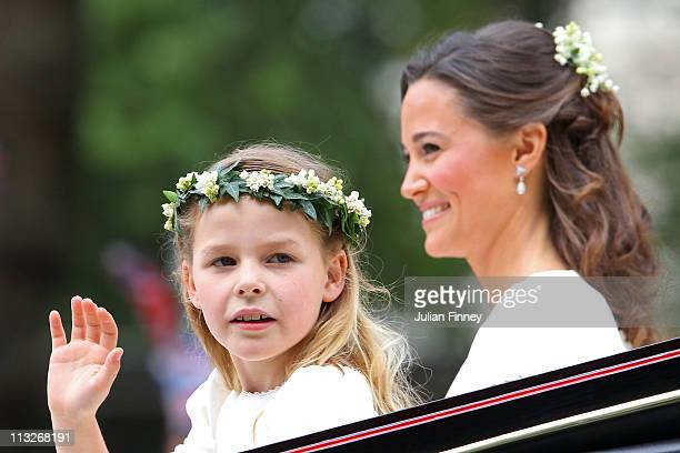 Maid of Honour Pippa Middleton with bridemaid Margarita ArmstrongJones make the journey by carriage procession to Buckingham Palace following the...