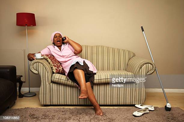 maid taking a break - maid stock pictures, royalty-free photos & images