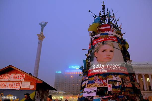 Maidan Nezalezhnosti , Kiev, Ukraine. A huge artificial 'New Year tree' in central Kiev has become a symbol of anti-government resistance. The 'tree'...