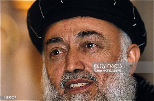 Maidan Shah: weapons inventoried and distributed, Wardak province In Afghanistan In February, 1995-Afghanistan President Rabbani.