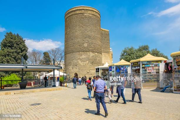 maiden tower baku azerbaijan - azerbaijan stock pictures, royalty-free photos & images