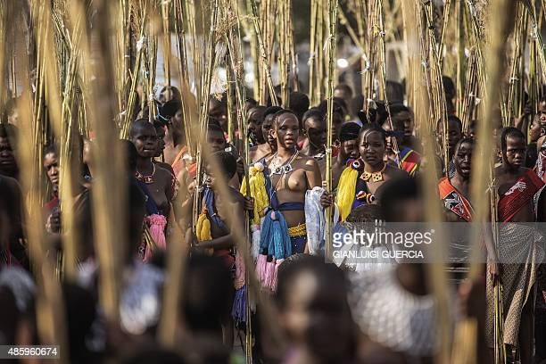 Maidens from Swaziland carry the reeds as they sing and dance during the first day of the annual royal reed dance at the Ludzidzini Royal palace on...