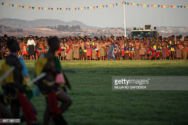 Maidens sing and dance during the annual royal Reed Dance at the Ludzidzini Royal palace on August 28 2016 in Lobamba Swaziland Umhlanga or Reed...