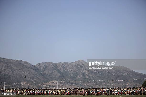 Maidens sing and dance during the last day of the annual royal Reed Dance at the Ludzidzini Royal palace on August 31 2015 in Lobamba Swaziland...