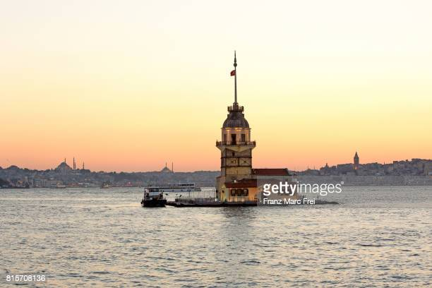 Maiden's Tower in Bosporus and Galata Tower in the back