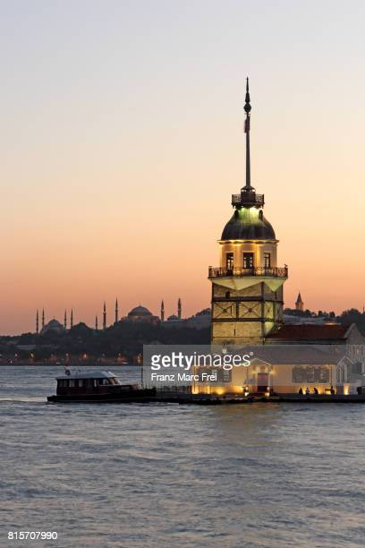 Maiden's Tower in the Bosporus and Sultanahmet with Blue Mosque an Hagia Sophia in the background