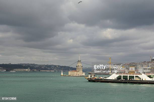 "maiden's tower, kiz kulesi, or leander's tower in istanbul with - ""sjoerd van der wal"" or ""sjo"" stock pictures, royalty-free photos & images"