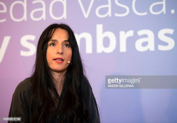 Maider Garcia Goena daugther of the conscientious objector refugee in Hendaye Juan Carlos Garcia Goena takes part in an event called by the Institute...