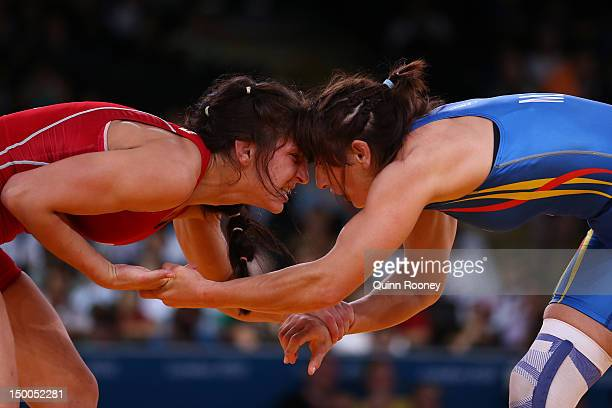 Maider Unda Gonzalez De Audicana of Spain and Vasilisa Marzalyuk of Belarus compete in the Women's Freestyle 72 kg Wrestling on Day 13 of the London...