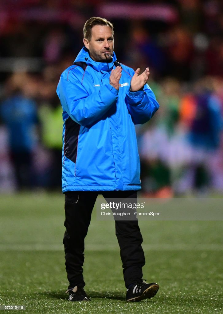 Maidstone United manager Jay Saunders during the Vanarama National League match between Maidstone United and Lincoln City at Gallagher Stadium on April 25, 2017 in Maidstone, England.