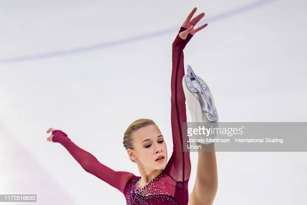 Maiia Khromykh of Russia competes in the Junior Ladies Short Program during day 1 of the ISU Junior Grand Prix of Figure Skating Riga Cup at Volvo...