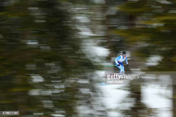 Maija Jarvela of Finland competes in the women's 125km standing biathlon on day seven of the Sochi 2014 Paralympic Winter Games at Laura Crosscountry...