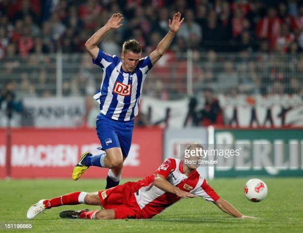 Maik Franz of Hertha battles for the ball with Adam Nemec of Union during the Second Bundesliga match between 1FC Union Berlin and Hertha BSC Berlin...