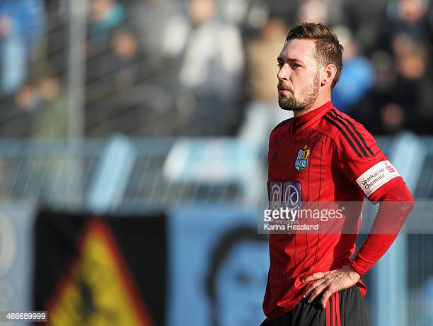 Maik Kegel of Chemnitz disappointed during the 3rd Liga match between Chemnitz and Regensburg at Stadion an der Gellertstrasse on February 01 2014 in...