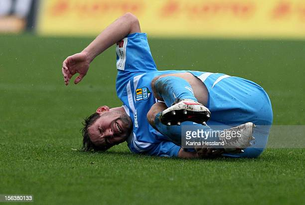 Maik Kegel of Chemnitz on the ground during the Third League match between RW Erfurt and Chemnitzer FC at Steigerwald Stadion on November 10 2012 in...