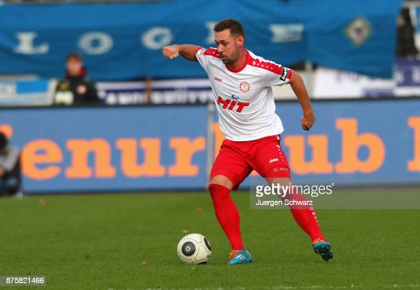 Maik Kegel of Cologne controls the ball during the 3 Liga match between SC Fortuna Koeln and 1 FC Magdeburg at Suedstadion on November 18 2017 in...