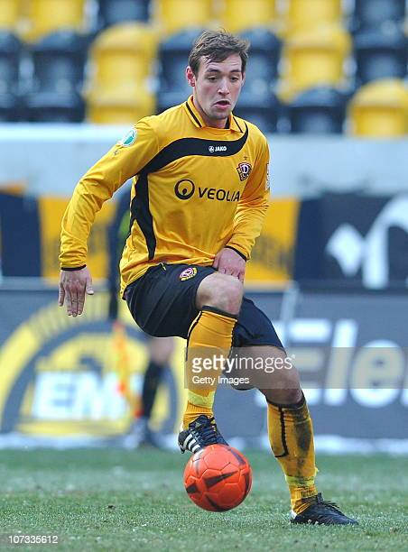 Maik Kegel of Dresden runs with the ball during the Third League match between Dynamo Dresden and Kickers Offenbach at the Rudolf Harbig Stadium on...