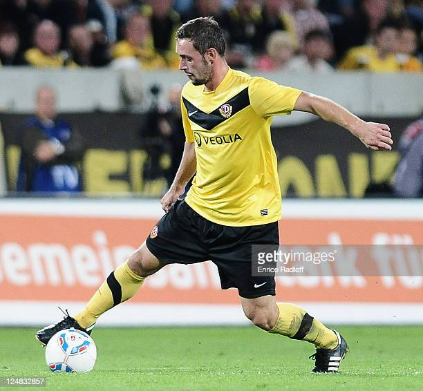 Maik Kegel of Dynamo Dresden runs with the ball during the Second Bundesliga match between SG Dynamo Dresden and VfL Bochum at GluecksgasStadion on...