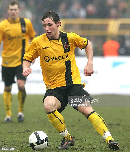 Maik Kegel of Dynamo Dresden runs with the ball during the Third Bundesliga match between 1 FC Union Berlin and Dynamo Dresden at the...