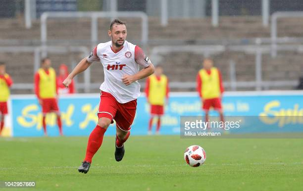 Maik Kegel of Fortuna Koeln runs with the ball during the 3 Liga match between SC Fortuna Koeln and VfL Sportfreunde Lotte at Suedstadion on...