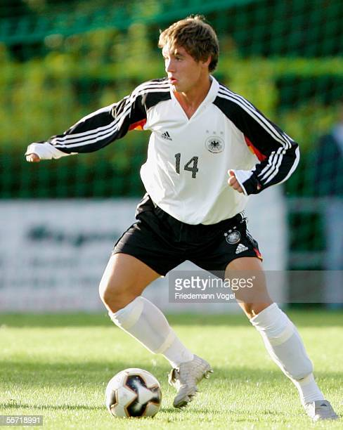 Maik Kegel of Germany in action during the men's under 17 four nation match between Germany and Bulgaria at the Jahn Park stadium on September 16...
