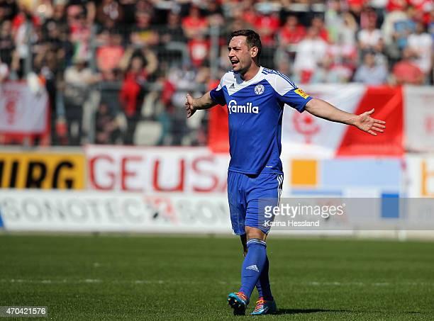 Maik Kegel of Kiel reacts during the Third League match between Hallescher FC and Kieler SV Holstein at Erdgas Sportpark on April 19 2015 in Halle...
