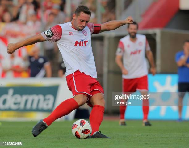 Maik Kegel of Koeln controls the ball during the 3 Liga match between SC Fortuna Koeln and Karlsruher SC at Suedstadion on August 7 2018 in Cologne...