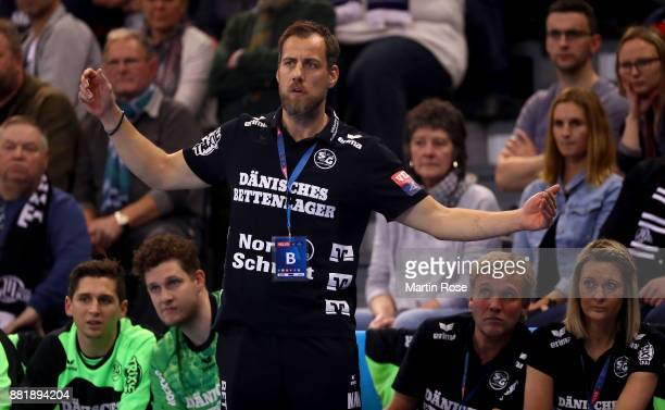 Maik Machulla head coach of Flensburg Handewitt reacts during the Velux EHF Champions League match between SG Flensburg Handewitt and THW Kiel at...